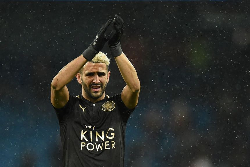 Mahrez gestures after Leicester played Manchester City on Feb 10, 2018.