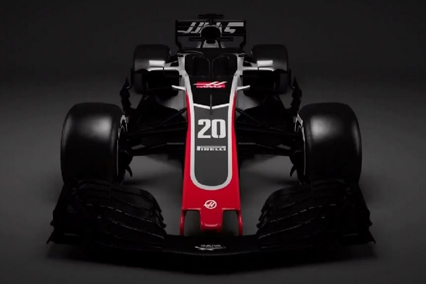 A screenshot of the VF18 from a video of the car released by Haas.
