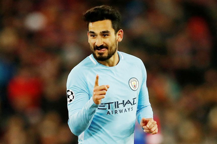 Manchester City's Ilkay Gundogan after scoring the final goal in the 4-0 Champions League last-16 first-leg win against Basel.
