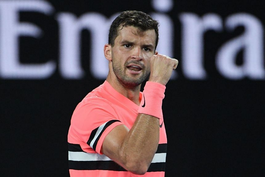 Bulgaria's Grigor Dimitrov (above, during the Australian Open) defeated Japan's Yuichi Sugita 6-4, 7-6 (7/5).