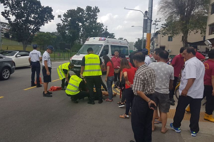 The cyclist was taken conscious to Ng Teng Fong General Hospital.