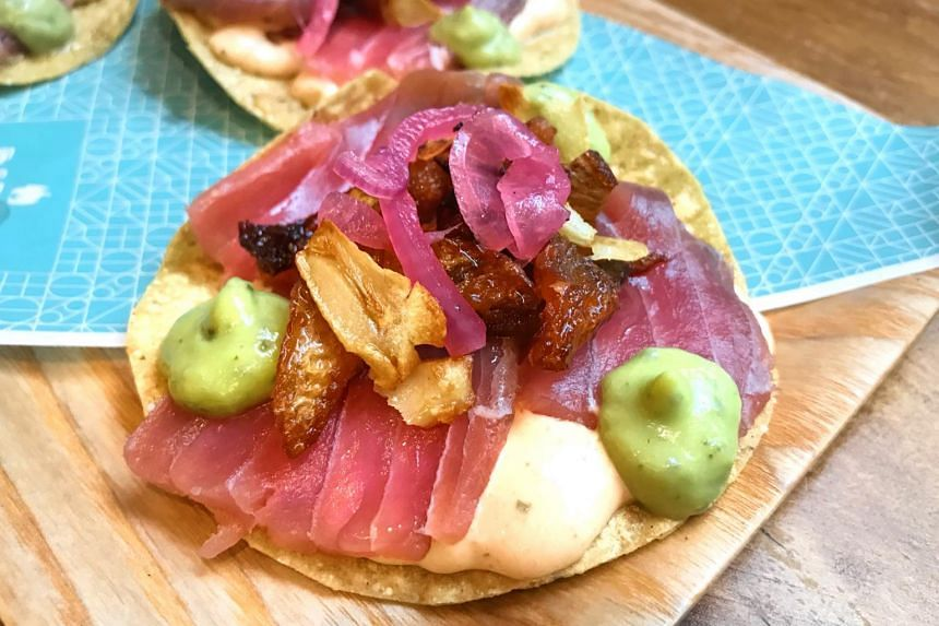 Tuna Tostada from Barrio by Mex Out.