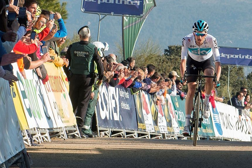 Poels of Team Sky advances the finish line to win the second stage.