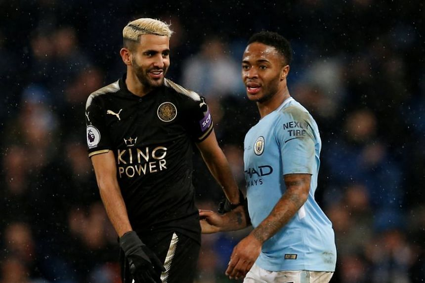 City's Raheem Sterling (right) and Leicester's Riyad Mahrez during their teams' Feb 10, 2018 match.