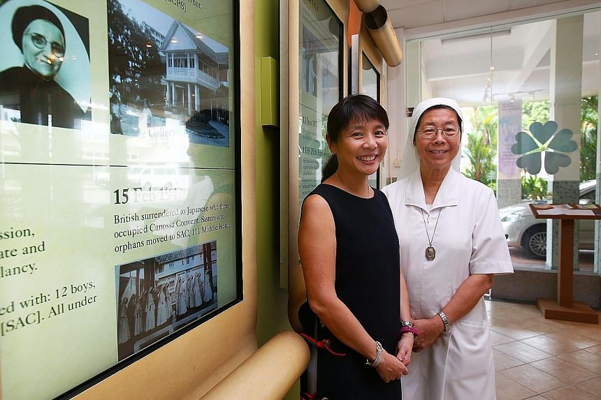 Canossa Convent Primary principal Eugenie Tan and Sister Marilyn Lim. The school deliberated for two years about taking in boys.
