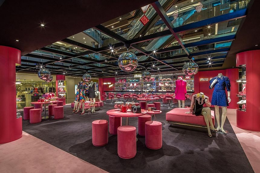The disco-themed pop-up store by Italian label Miu Miu houses its new Laminato collection, among other offerings.