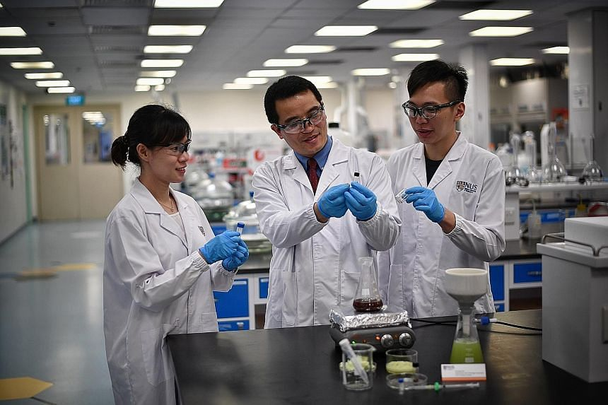 (From far left) PhD student Yu Xi, lead researcher Yang Hongshun and undergrad Matthew Yap are part of the team behind the new pesticide-screening technique.