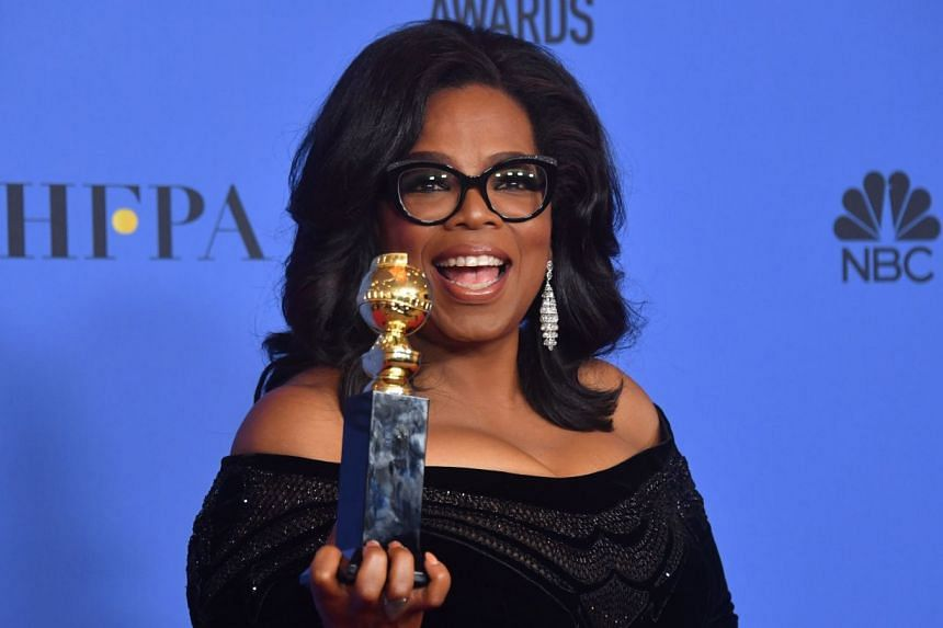 Winfrey with her Golden Globes Cecil B. DeMille Award in Juanuary 2018.
