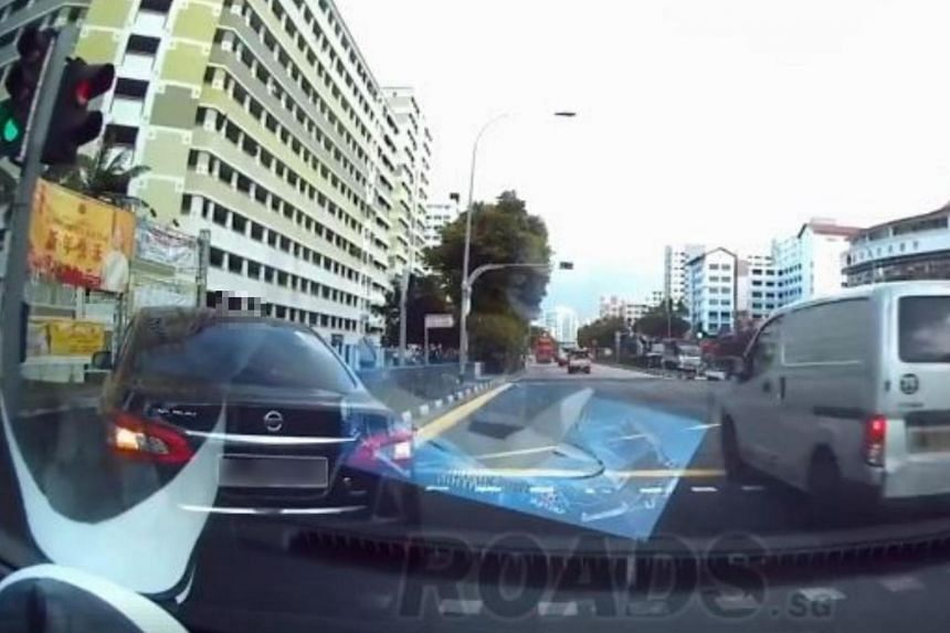 A recording of the incident, captured from an in-vehicle camera, shows the car turning onto the pavement at a traffic junction.