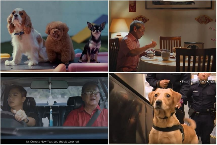 (Clockwise from top left) Straits Times' video greeting, Singtel's lonely widower, Singapore Police Force's K-9 Unit, and Petronas' road trip between father and son.