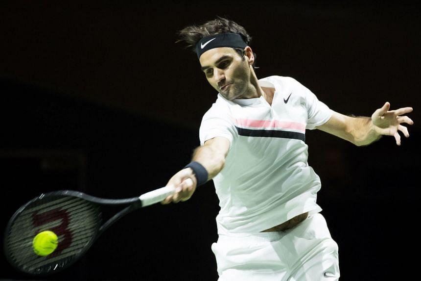 Federer in action against Ruben Bemelmans of Belgium on Feb 14, 2018.