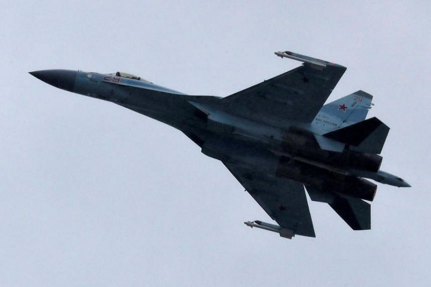A Sukhoi Su-35 multi-role fighter jet performs during a demonstration flight at the MAKS 2017 air show in Zhukovsky, outside Moscow, Russia, on July 21, 2017.