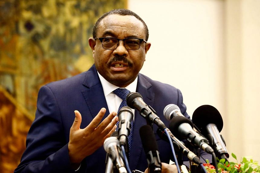 Hailemariam Desalegn speaking during a press conference in Khartoum in August 2017.