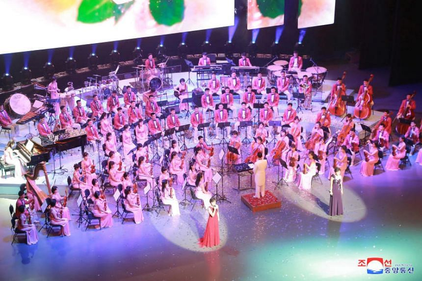 """North Korea's Samjiyon Orchestra's performs in Seoul, South Korea. The band """"played several southern songs"""" when they performed before party officials and artists in Pyongyang on Feb 16, 2018."""