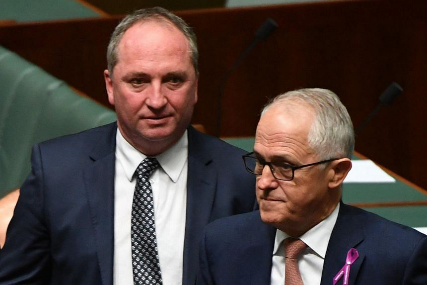 Australian Prime Minister Malcolm Turnbull (right) and Deputy Prime Minister Barnaby Joyce (left) during question time in the House of Representatives at the Parliament House in Canberra on Feb 15, 2018.