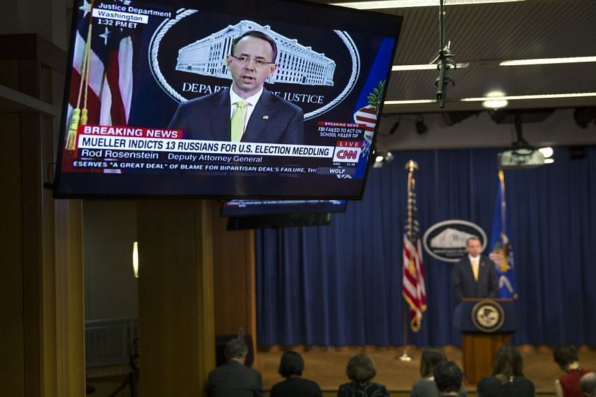 Deputy Attorney General Rod Rosenstein announces the indictment of 13 Russian nationals and 3 Russian entities for violating criminal laws with an elaborate conspiracy at the Department of Justice headquarters in Washington on Feb 16, 2018.