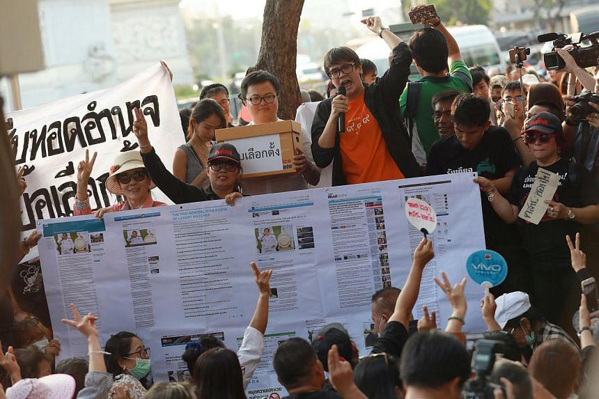 Pro-democracy activists shout their demands during a protest against the Thai junta near the Democracy Monument in Bangkok, Thailand on Feb 10, 2018.