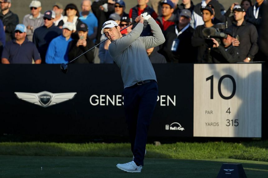 Cantlay plays his shot from the 10th tee during the second round of the Genesis Open.