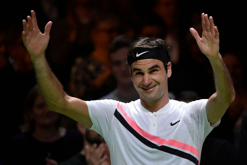 Federer celebrates after victory over Netherlands Robin Haase in their quarter-final.