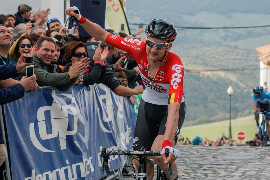 Wellens celebrates winning the fourth stage.