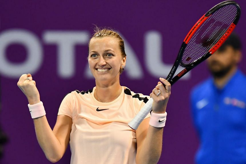 Kvitova celebrates winning her semi-final match.