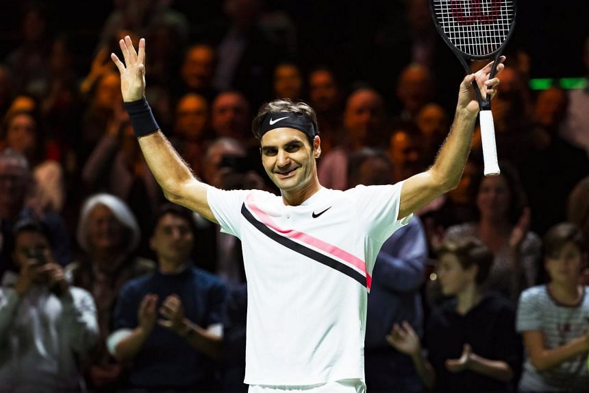 Federer celebrates victory over Andreas Seppi of Italy in their semi-final match.
