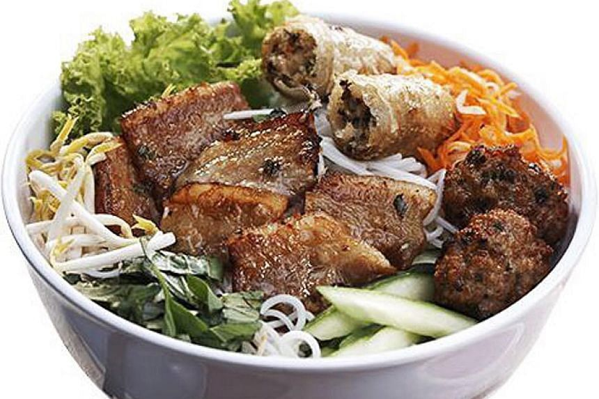 The pork patties of Little Hanoi's bun cha dish are freshly grilled.