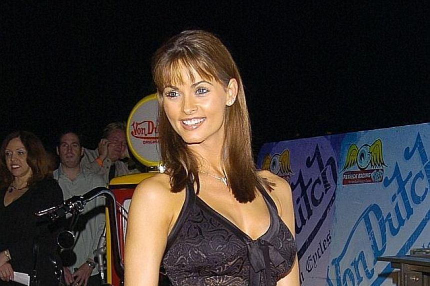 Former Playboy model Karen McDougal (left) alleges that she and Mr Donald Trump had a sexual relationship in 2006, months after Mr Trump's wife Melania (with him, above) gave birth to his youngest son.