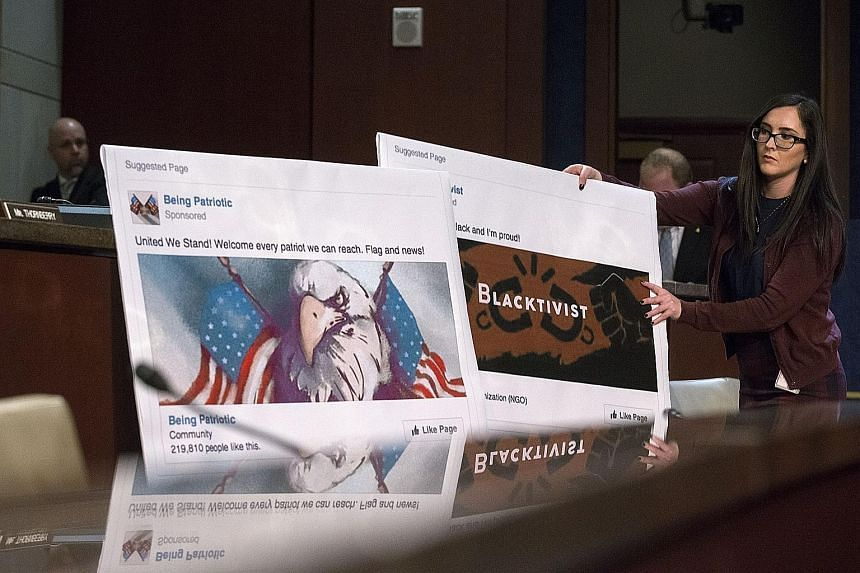 Above: Graphics of Facebook pages created by the Russian troll factory being shown during the House Intelligence Committee hearing on Russia's role in the 2016 US elections. Left: Russian oligarch Yevgeny Prigozhin (at far left) helping President Vla