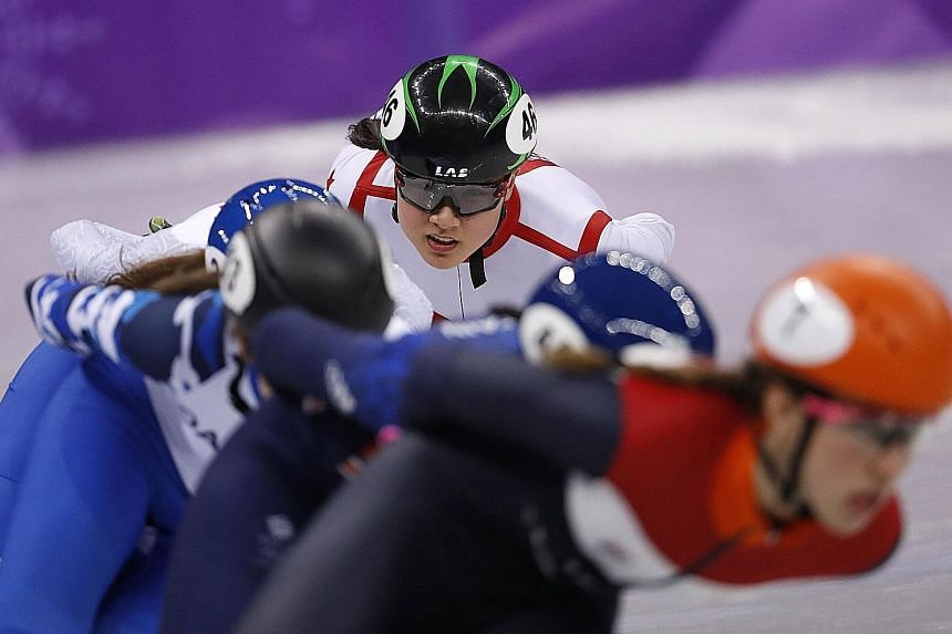 Short track speed skater Cheyenne Goh competing in her heat yesterday. She finished fifth among six skaters.