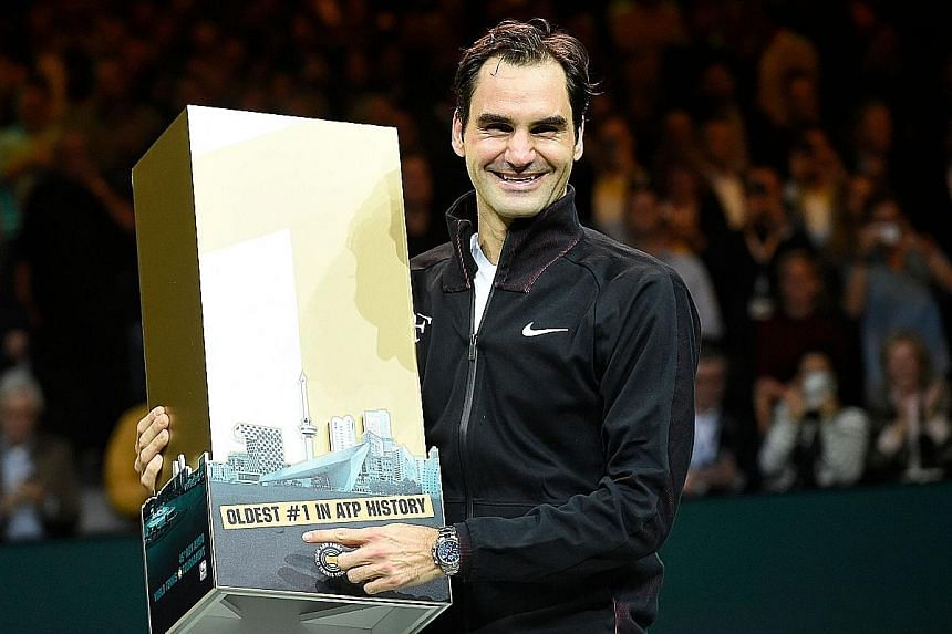 Twenty-time Grand Slam singles winner Roger Federer celebrating his top ranking after beating Dutch player Robin Haase in their quarter-final in Rotterdam on Friday. American Serena Williams was previously the oldest tennis No. 1 at 35.