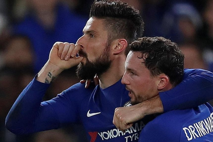 Olivier Giroud, whose wife recently gave birth to their third child, celebrating with Danny Drinkwater after scoring Chelsea's fourth goal against Hull at Stamford Bridge in the FA Cup fifth round on Friday.