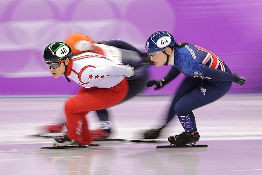 Cheyenne Goh during her short track speed skating 1,500m heat at the Gangneung Ice Arena yesterday. She lost momentum after losing her balance and finished fifth, failing to qualify for the semi-finals.
