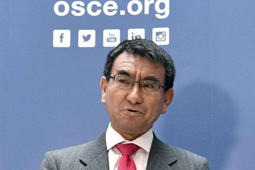 Foreign Minister of Japan Taro Kono is pictured during a meeting in Vienna at the OSCE on Feb 15, 2018.