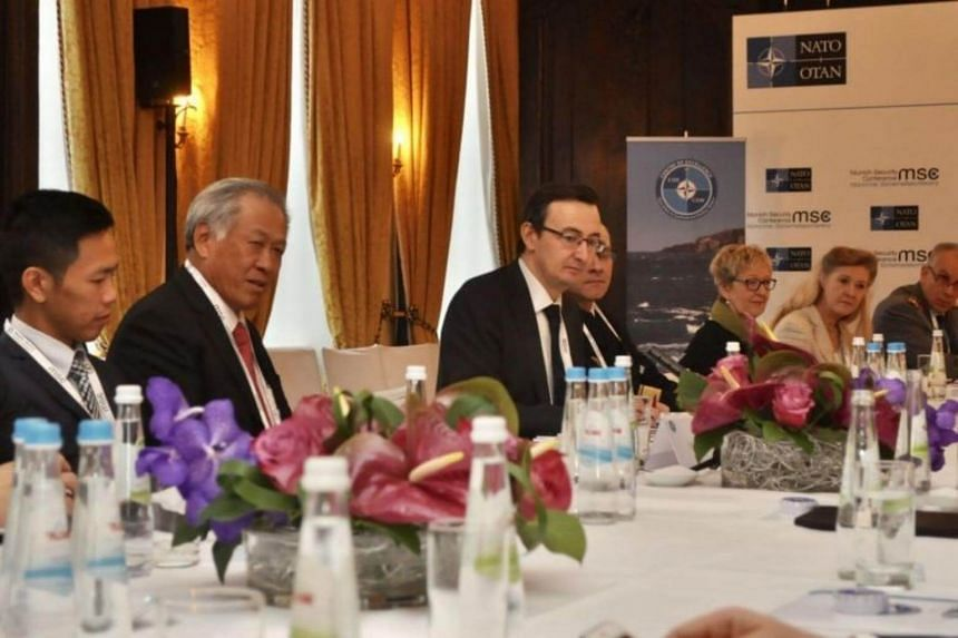 Minister for Defence Dr Ng Eng Hen speaks at the 54th Munich Security Conference in Munich, Germany.