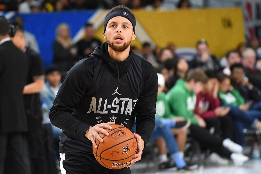 Stephen Curry of Team Curry practices for the 2018 NBA All-Star game at the Verizon Up Arena at LACC  in Los Angeles, California, on Feb 17, 2018.