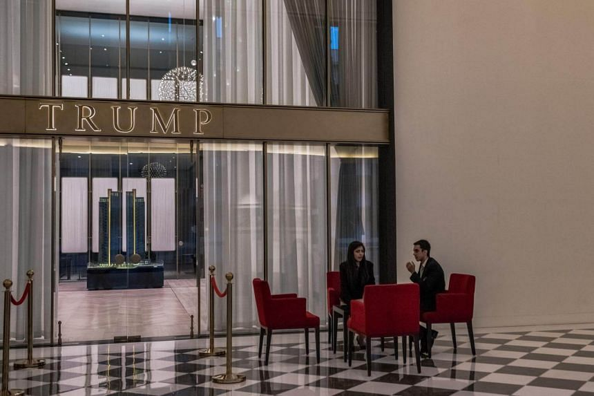 A Trump Towers development is prominently advertised at a Tribeca showroom in Gurgaon, on Feb 16, 2018.