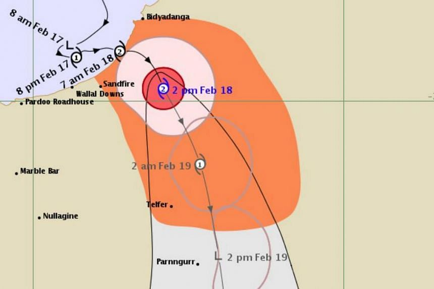 A map showing the path of Tropical Cyclone Kelvin through Western Australia as it winds its way south through Western Australia.