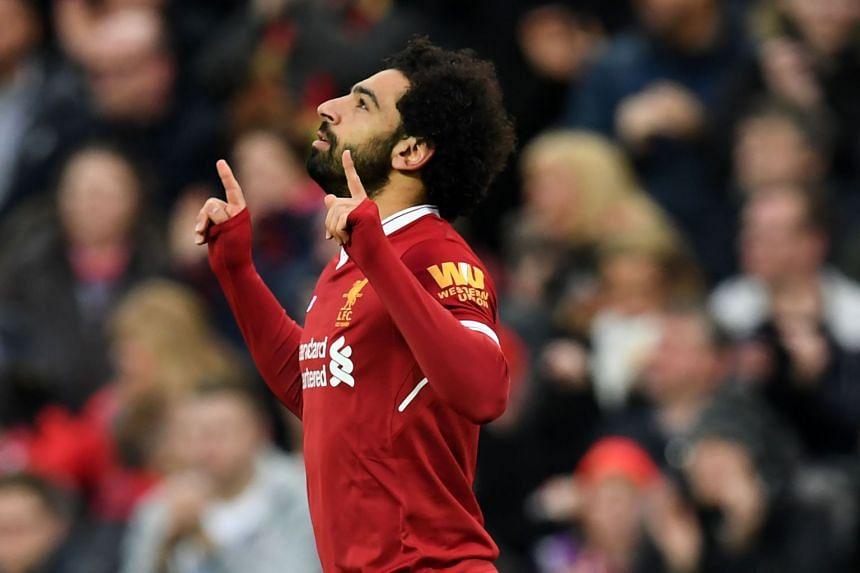 Salah celebrates a goal against Tottenham Hotspur in February 2017.
