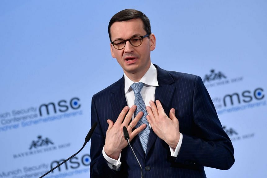 Morawiecki gives a speech during the Munich Security Conference on Feb 17, 2018.