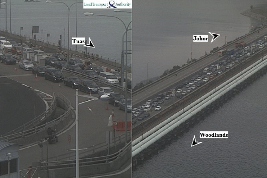 ICA said earlier this month that there would be longer than usual waiting times at the Tuas (left) and Woodlands (right) checkpoints over the Chinese New Year holidays, due to tighter security checks.