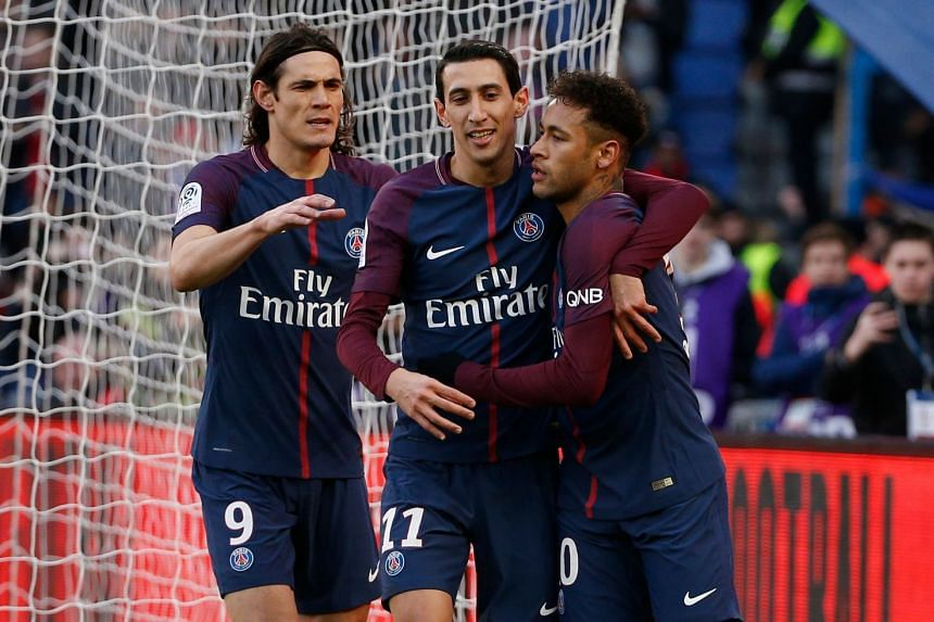 PSG's (from left) Cavani, Angel Di Maria and Neymar celebrate during the match.