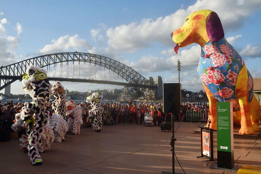 AUSTRALIA:Sydney's Harbour Bridge providing a stunning backdrop for lion dancers in all their glorious pride.