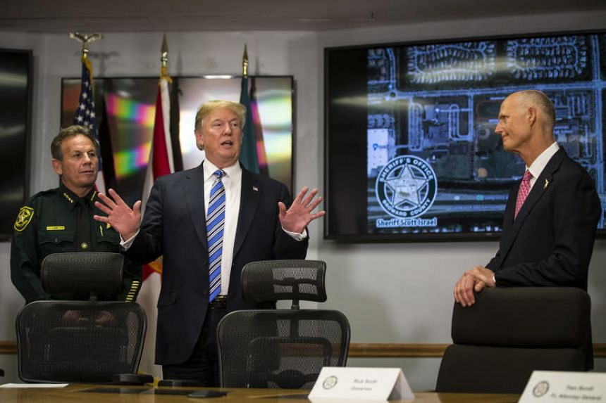 US President Donald Trump addresses first responders from the Parkland mass shooting at the County Sheriff's Office in Fort Lauderdale.