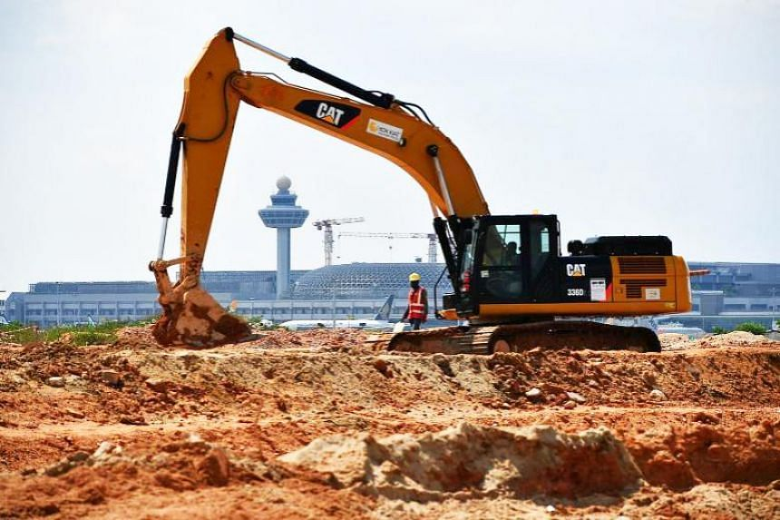 Construction work taking place at the site of Changi Airport's new Terminal 5 on Nov 22, 2017.