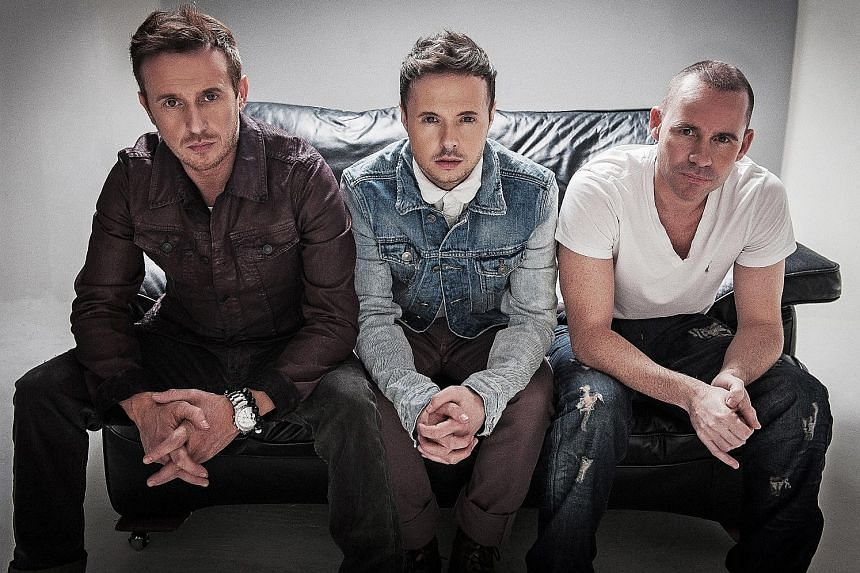 Members of English boyband 911 (from left) Jimmy Constable, Lee Brennan and Spike Dawbarn.