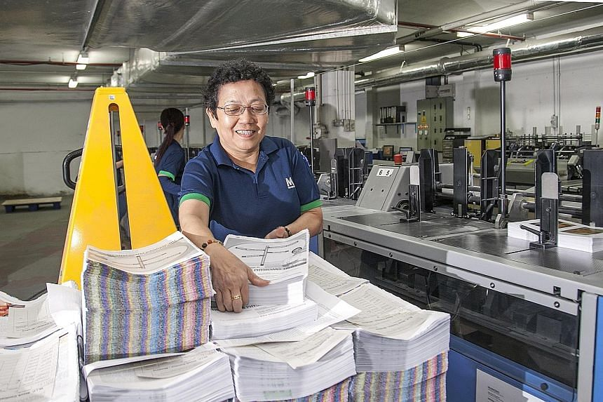 Markono Print Media employs some workers aged over 60. The company helps them adapt to new processes as it moves towards automation. Going forward, the labour required for manual processing of documents will be reduced, and manpower will be redeploye