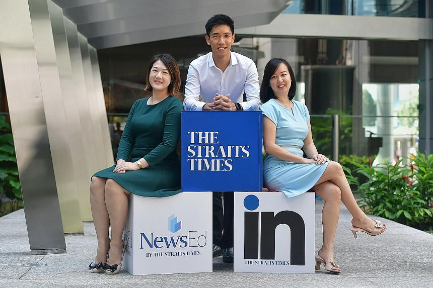 ST Schools correspondent David Tay with ST IN contributors Elaine Chong (left) and Adeline Ng. They have all been O-level oral examiners during their time as educators.