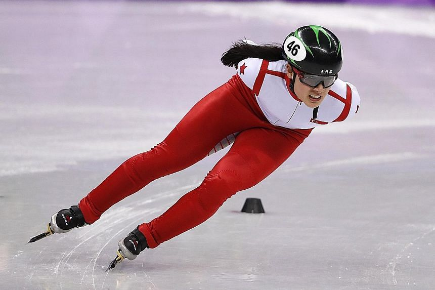 Singapore skater Cheyenne Goh, who is based in Canada, competing at the Gangneung Ice Arena. The 18-year-old, her country's first Winter Olympian, finished fifth in her 1,500m short track speed skating heat.