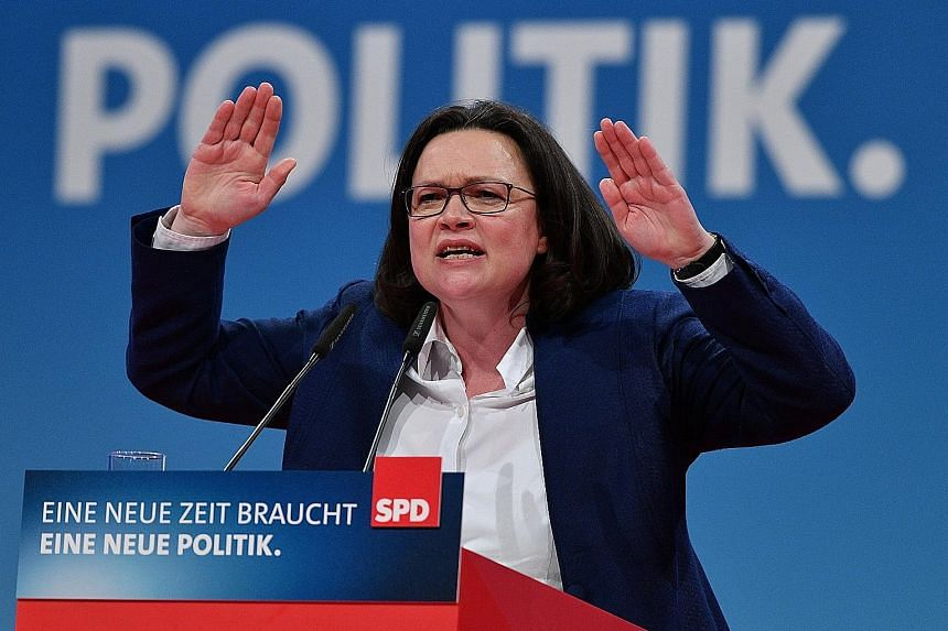 Ms Andrea Nahles speaking at the federal party convention of the SPD in Bonn last month. She is said to have invigorated her demoralised party with a lectern-thumping speech.